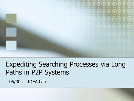 Expediting Searching Processes via Long Paths in P2P Systems 05/30 IDEA Lab.