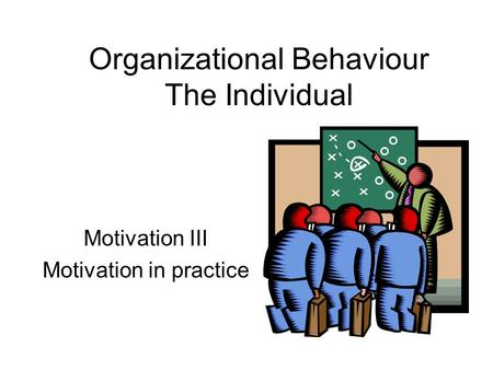 Motivation III Motivation in practice Organizational Behaviour The Individual.