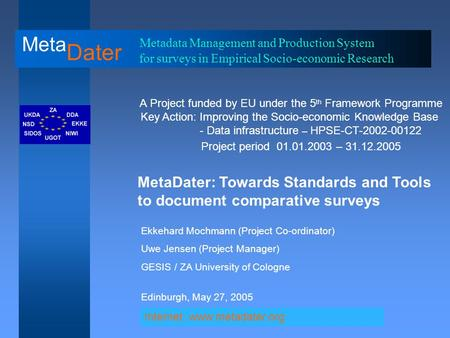 Meta Dater Metadata Management and Production System for surveys in Empirical Socio-economic Research A Project funded by EU under the 5 th Framework Programme.