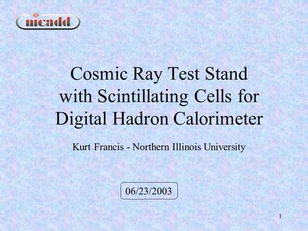 1 Cosmic Ray Test Stand with Scintillating Cells for Digital Hadron Calorimeter 06/23/2003 Kurt Francis - Northern Illinois University.