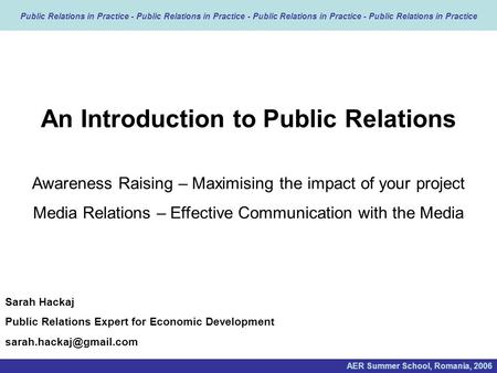 An Introduction to Public Relations