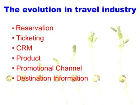 The evolution in travel industry Reservation Ticketing CRM Product Promotional Channel Destination Information.