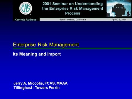 Enterprise Risk Management Its Meaning and Import Jerry A. Miccolis, FCAS, MAAA Tillinghast - Towers Perrin.