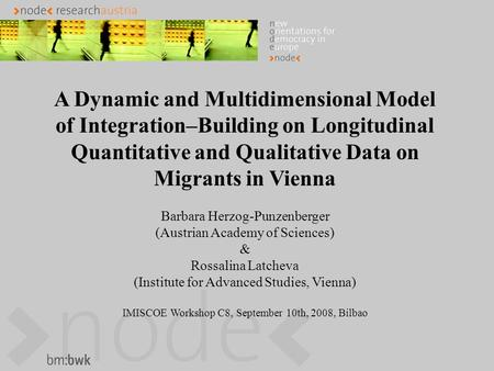 A Dynamic and Multidimensional Model of Integration–Building on Longitudinal Quantitative and Qualitative Data on Migrants in Vienna Barbara Herzog-Punzenberger.
