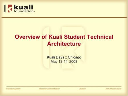 Overview of Kuali Student Technical Architecture Kuali Days :: Chicago May 13-14, 2008.