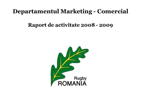 Departamentul Marketing - Comercial Raport de activitate 2008 - 2009.