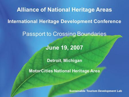 Alliance of National Heritage Areas