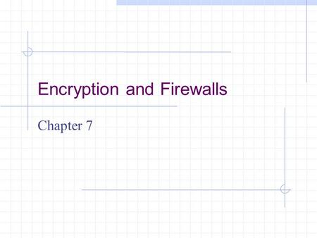 Encryption and Firewalls Chapter 7. Learning Objectives Understand the role encryption plays in firewall architecture Know how digital certificates work.