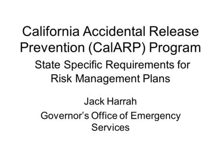 Jack Harrah Governor's Office of Emergency Services