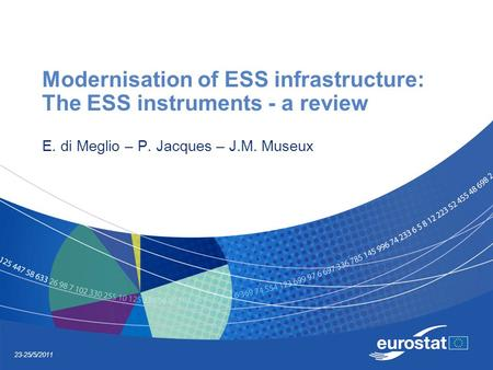 23-25/5/2011 Modernisation of ESS infrastructure: The ESS instruments - a review E. di Meglio – P. Jacques – J.M. Museux.