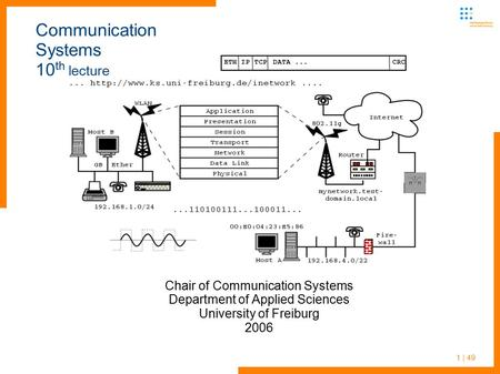 Communication <strong>Systems</strong> 10th lecture
