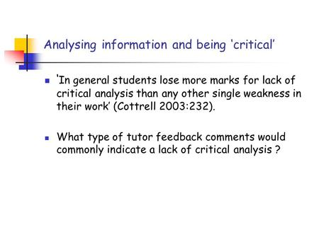 Analysing information and being 'critical'