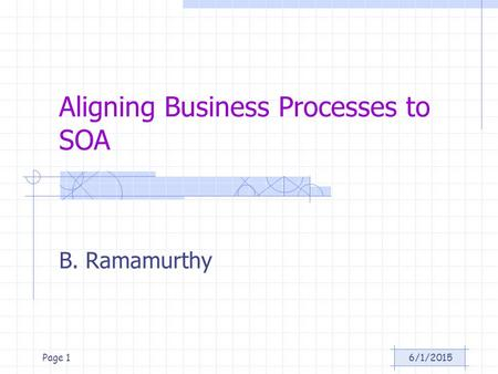 6/1/2015Page 1 Aligning Business Processes to SOA B. Ramamurthy.