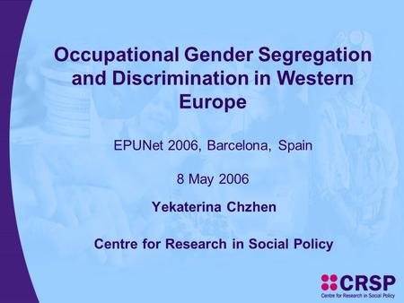occupational segregation Limiting women to certain roles also limits what they can earn.