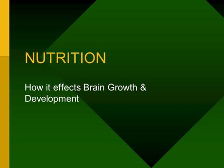 NUTRITION How it effects Brain Growth & Development.