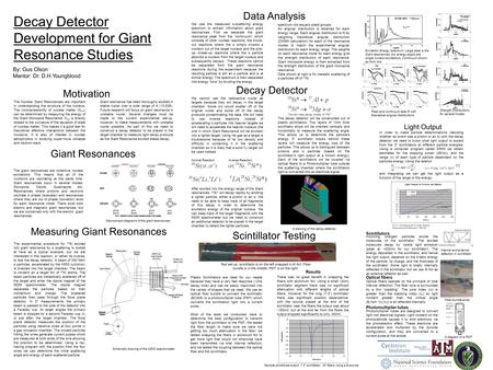 Scint. Al Internal reflection External reflection ↑ ↑ ↑ Decay Detector Development for Giant Resonance Studies By: Gus Olson Mentor: Dr. D.H.Youngblood.