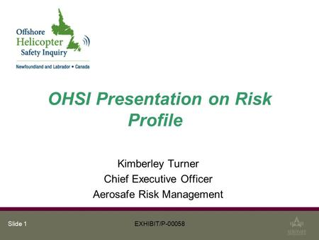 Slide 1 OHSI Presentation on Risk Profile Kimberley Turner Chief Executive Officer Aerosafe Risk Management EXHIBIT/P-00058.