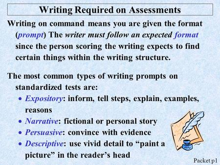 Writing Required on Assessments Writing on command means you are given the format (prompt) The writer must follow an expected format since the person scoring.