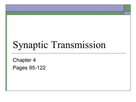 Synaptic Transmission Chapter 4 Pages 95-122. Chemical Synapses  Most synapses in the brain are chemical. Electronically coupled gap junction synapses.
