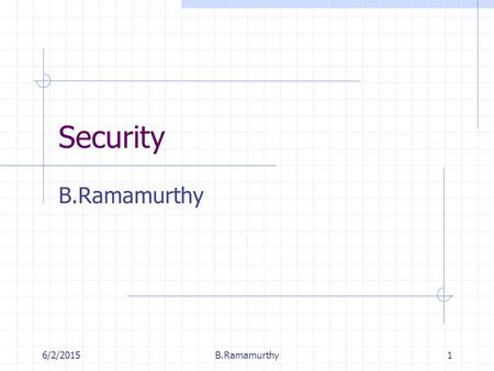 6/2/2015B.Ramamurthy1 Security B.Ramamurthy. 6/2/2015B.Ramamurthy2 Computer Security Collection of tools designed to thwart hackers Became necessary with.