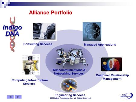 2003 Indigo Technology, Inc. All Rights Reserved Alliance Portfolio Computing Infrastructure Services Customer Relationship Management Engineering Services.