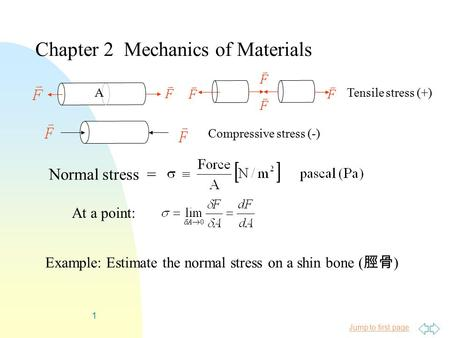 Jump to first page 1 Normal stress = Chapter 2 Mechanics of Materials Example: Estimate the normal stress on a shin bone ( 脛骨 ) ATensile stress (+) Compressive.