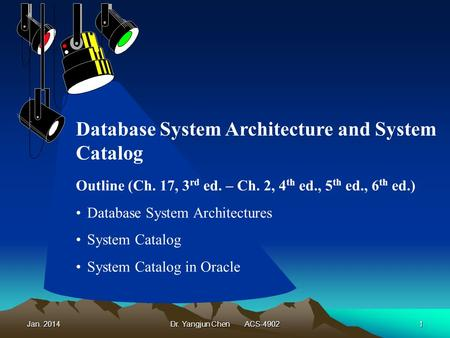 Jan. 2014Dr. Yangjun Chen ACS-49021 Outline (Ch. 17, 3 rd ed. – Ch. 2, 4 th ed., 5 th ed., 6 th ed.) Database System Architectures System Catalog System.