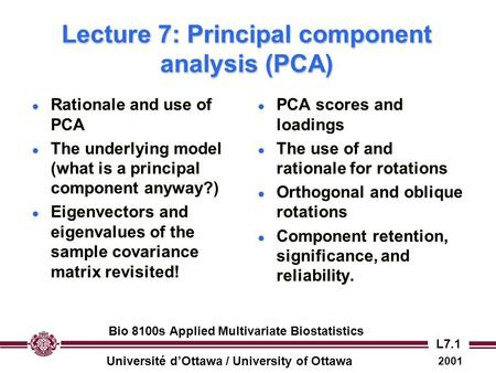 Lecture 7: Principal component analysis (PCA)