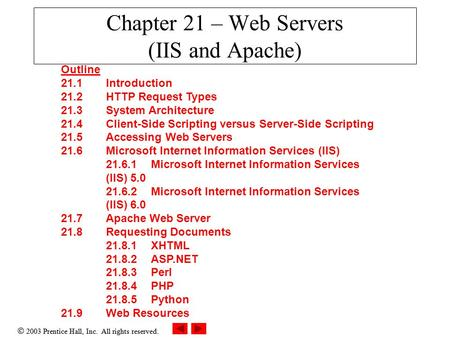  2003 Prentice Hall, Inc. All rights reserved. Chapter 21 – Web Servers (IIS and Apache) Outline 21.1 Introduction 21.2 HTTP Request Types 21.3 System.