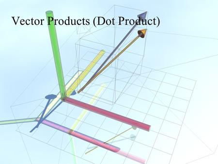 Vector Products (Dot Product). Vector Algebra The Three Products.