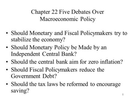 Chapter 22 Five Debates Over Macroeconomic Policy