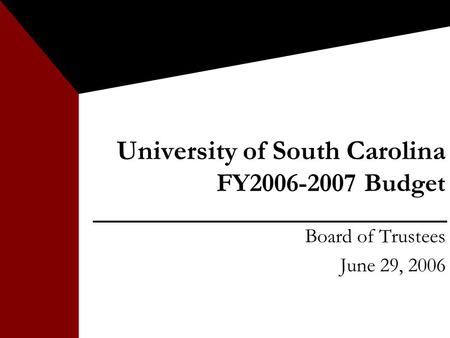 University of South Carolina FY2006-2007 Budget Board of Trustees June 29, 2006.