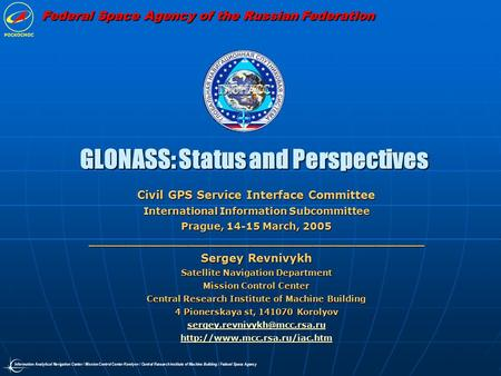 GLONASS: Status and Perspectives