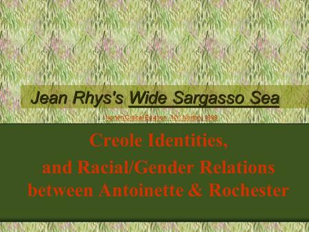 Jean Rhys's Wide Sargasso Sea Creole Identities, and Racial/Gender Relations between Antoinette & Rochester Norton Critical Ediction. NY: Norton, 1999.