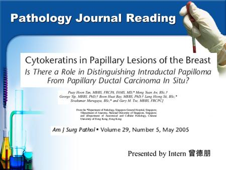Pathology Journal Reading