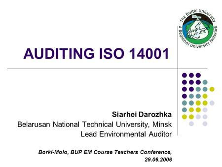 AUDITING ISO Siarhei Darozhka