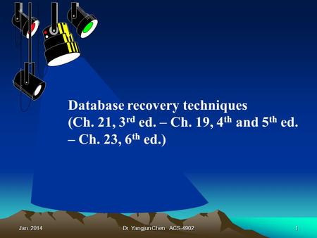 Jan. 2014Dr. Yangjun Chen ACS-49021 Database recovery techniques (Ch. 21, 3 rd ed. – Ch. 19, 4 th and 5 th ed. – Ch. 23, 6 th ed.)