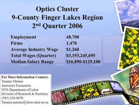 Optics Cluster 9-County Finger Lakes Region 2 nd Quarter 2006 Employment48,700 Firms1,478 Average Industry Wage$1,260 Total Wages (Quarter)$3,193,245,695.