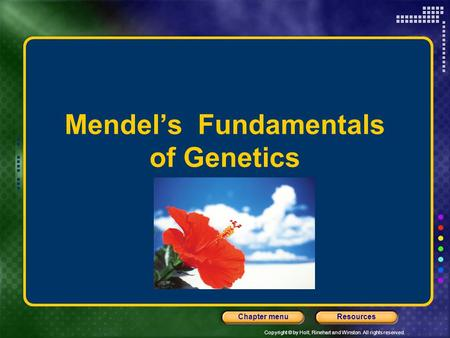 Copyright © by Holt, Rinehart and Winston. All rights reserved. ResourcesChapter menu Mendel's Fundamentals of Genetics.