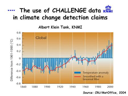 The use of CHALLENGE data in climate change detection claims Albert Klein Tank, KNMI Source: CRU/MetOffice, 2004.