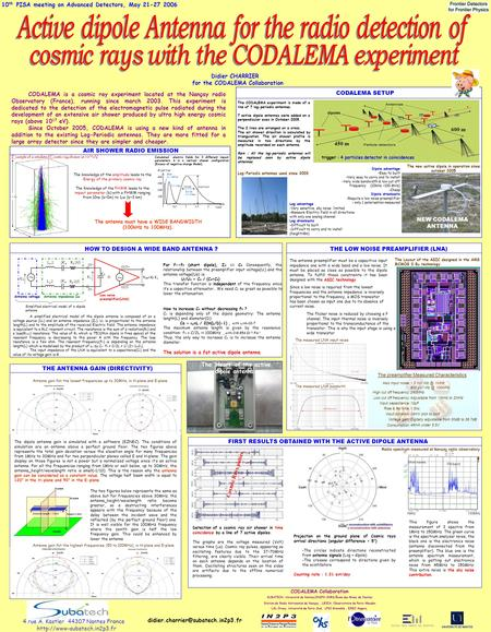 10 th PISA meeting on Advanced Detectors, May 21-27 2006 The knowledge of the amplitude leads to the Energy of the primary cosmic ray The Knowledge of.