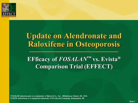 Slide 1 Update on Alendronate and Raloxifene in Osteoporosis EFficacy of FOSALAN ™ vs. Evista ® Comparison Trial (EFFECT) FOSALAN (alendronate) is a trademark.