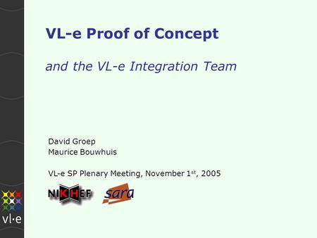 VL-e Proof of Concept and the VL-e Integration Team David Groep Maurice Bouwhuis VL-e SP Plenary Meeting, November 1 st, 2005.