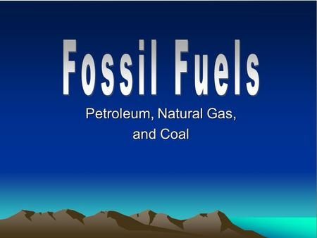 Petroleum, Natural Gas, and Coal