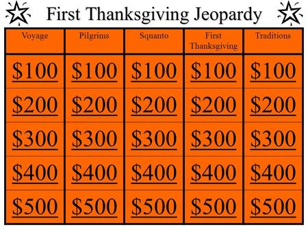 First Thanksgiving Jeopardy