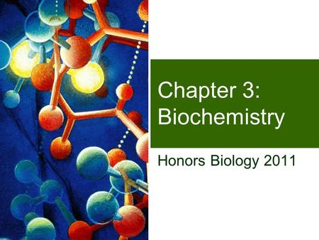 Chapter 3: Biochemistry Honors Biology 2011 What are we made of? Why do we have to eat?