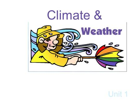 Climate & Unit 1. Vocabulary Weather Atmosphere Climate Precipitations Wind Meteorologist Anemometer Wind vane.