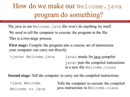 How do we make our Welcome.java program do something? The java in our Welcome.java file won't do anything by itself. We need to tell the computer to execute.
