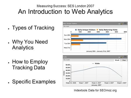 Measuring Success: SES London 2007 An Introduction to Web Analytics ● Types of Tracking ● Why You Need Analytics ● How to Employ Tracking Data ● Specific.
