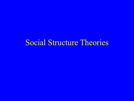 "Social Structure Theories Social Disorganization Theories Robert Park on urban ecology –Urban ""zones"" –Crime and zones –The cause of crime: ""Social Disorganization"""
